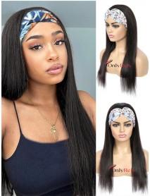 HB555--Headband silk straight Brazilian Virgin Human Hair Wigs