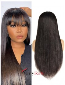 HD050--HD lace silk straight with bangs brazilian virgin 5x5 HD lace closure wig