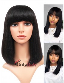 BOB018--brazilian virgin human hair machine made non lace bob with bangs