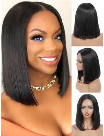 HD067--5x5 HD lace closure brazilian virgin blunt cut straight bob wig