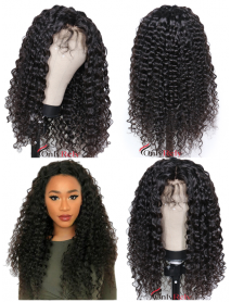 beach curl Brazilian Virgin bleached knots human hair 360 Wig--【AC220】