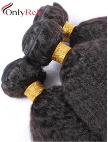 WF302--3 bundles kinky straight brazilian virgin human hair wefts