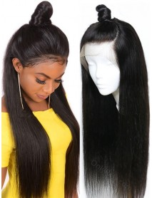 BW069--brazilian virgin silk straight natural color human hair full lace wig