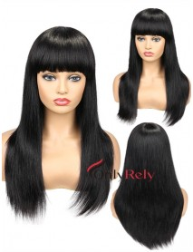 BW055--Brazilian virgin silk straight with bangs full lace wig