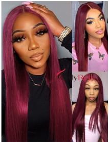 AC110--brazilian virgin 99j burgundy silk straight 360 wig