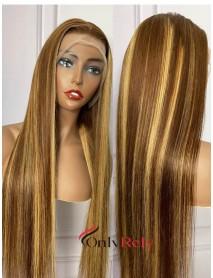 HD0427--HD lace brazilian virgin #4/#27 highlight silk straight 13x4 HD lace frontal wig