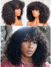 AC555--spiral curly with bangs brazilian virgin human hair 360 wig