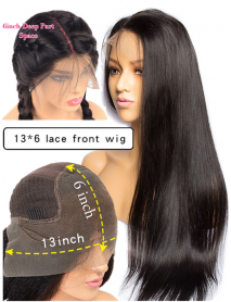 LF060--150% density brazilian virgin pre-plucked hairline 6 inch lace front Wig