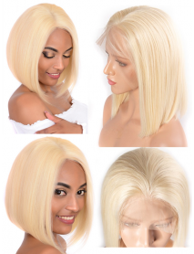BOB613--color 613 blonde bob cut brazilian virgin lace front wig
