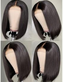 Brazilian virgin -summer blunt bob Silk Straight -2x4 lace front wig【BOB009】