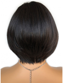 BOB007--Brazilian virgin short cutting straight bob 6 inch lace front wig