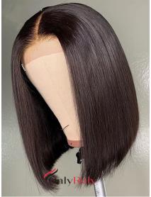 BOB001--fake scalp brazilian virgin blunt cut straight 6 inch lace front wig