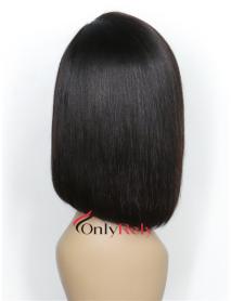 BOB003--preplucked brazilian virgin straight bob 6 inch lace front wig