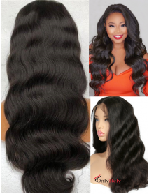 LF130--Brazilian Virgin body wave human hair glueless Lace Front Wig