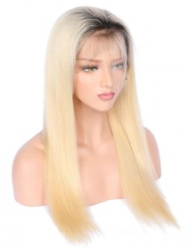 Brazilian virgin Dark Roots Fade Into Color 613 Ombre Color Straight full lace wig--【BW613】