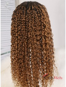Brazilian virgin Water Wave dark roots ombre brown preplucled hairline 360 lace wig --【AC666】