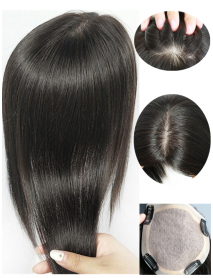 virgin hair natural color silk base straight Topper with MONO PU around -【topper01】
