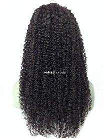 BW025--Brazilian virgin jerry curl bleached knots human hair full lace wig