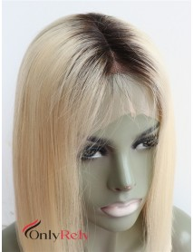 BOB008--blonde 613 color dark roots silk straight 9A virgin hair lace front wig