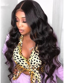 body wave brazilian virgin bleached knots 360 lace wig--【AC130】