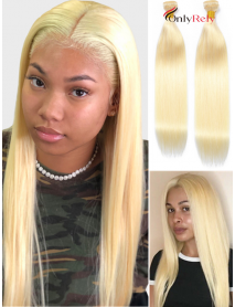 2 Bundles Color 613 Blonde 10A Virgin Hair Wefts In Stock--【WF203】