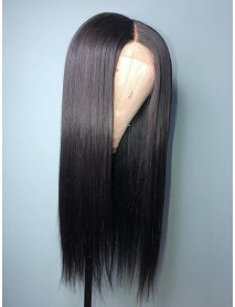 LF069--Brazilian Virgin human hair silk straight glueless Lace Front Wig