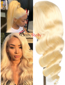 AC613--Brazilian Virgin pre-plucked natural hairline 613 Color Full Lace Wig
