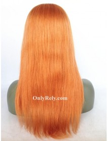 LF072--brazilian virgin silk straight orange color lace front wig